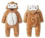 Agares Baby Mädchen Jungen Fleece Overall Winter Strampler Jumpsuit Karneval Fasching Kostüme (AFFE, 9-12 M)