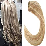 LaaVoo 18 pouce/45cm Bresilienne Tissage Cheveux Humain Naturels Cendre Blonde Highlights Bleach Blonde P#18/613 Remy Humain Extensions Weave Bundles Lisse 100Gramme par Paquete