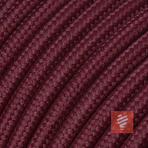 Bordeaux-lampe (Textilkabel für Lampe, Stoffkabel 3-adrig (3x0,75mm²) * Made in Europe * Bordeaux-Rot - 5 Meter)