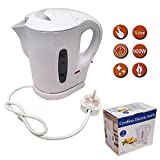 1 Litre 900W Electric Cordless Kitchen Kettle for Caravan Travel Hot Water White Jug by Crystals®