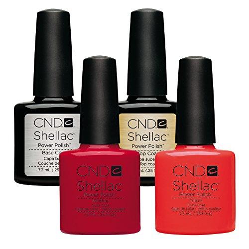 CND Shellac Wildfire plus Tropix plus Top Coat plus Base Coat 7.3 ml, 1er Pack (1 x 29 ml) -