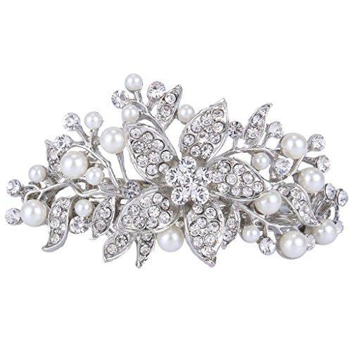 EVER FAITH österreichischen Kristall künstliche Perle elegant Haarschmuck Haarspange Silber-Ton