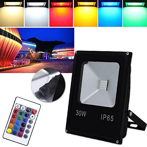 HG® 30W RGB LED Fluter Außen Strahler Scheinwerfer mit Fernbedienung 16 Farben 4 Modi Garten Deko Auffahrt Garage Beleuchtung Outdoor Licht Stimmungslichter ()