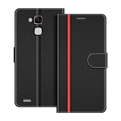 COODIO Coque en Cuir Huawei Mate 7, Étui Téléphone Huawei Mate 7, Housse Pochette Huawei Mate 7 Fonction Stand Etui Coque pour Huawei Mate 7, Noir/Rouge