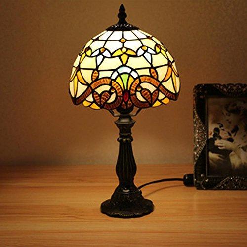OOFAY Lichter Tiffany-Style Klassische Retro Design 20 cm E27 Glasmalerei Tischlampe Schlafzimmer Lampe Nachttischlampe , 39*20cm - Klassische Tiffany-tischlampe