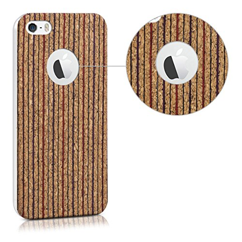 kwmobile Étui en TPU silicone élégant pour Apple iPhone SE / 5 / 5S en doré métallique Rayures verticales rouge bleu marron clair