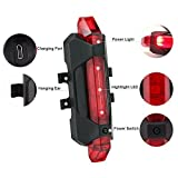 Saiyam 5 LED USB Rechargeable Waterproof Shockproof Bicycle Tail Light Lamp Fits on Any Road Bikes Helmets for Cycling Safety Flashlight