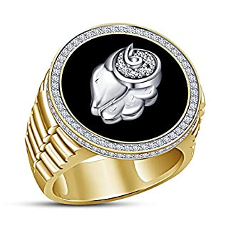 Vorra Fashion Astrology Ariex Zodiac Sign 925 Sterling Silver Ring with Black Enamel (P 1/2)