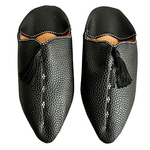 YVES Hamburg Marrakech - orientalische Babouches Leder (39 EU, schwarz) - Frauen Erde-schuh-sandalen