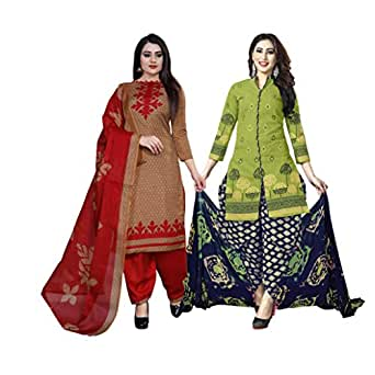 Rajnandini Women's Light Brown And Green Cotton Printed Unstitched Salwar Suit Material (Combo Of 2) (Free Size)
