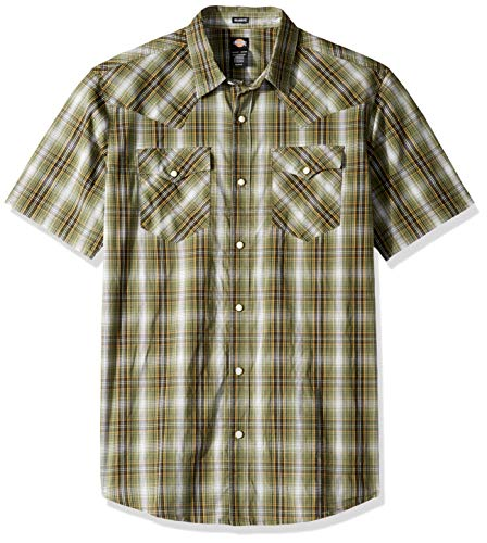 Dickies Herren Short Sleeve Flex Western Shirt Button Down Hemd, Rinsed Thyme Plaid, Groß -