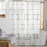 Duschvorhang Anti-Schimmel und Wasserdicht Gitter Digital Gedruckt PEVA Badezimmer Badvorhang mit Duschvorhang Haken 120/150/180/200 x 180cm Weiß