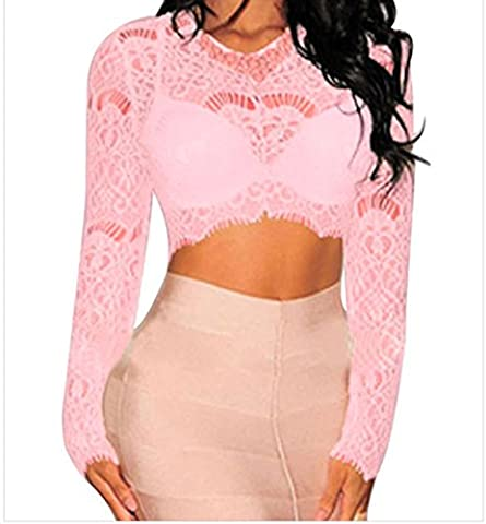 Bling-Bling Womens Pink Sheer Lace Long Sleeves Crop Top Size M