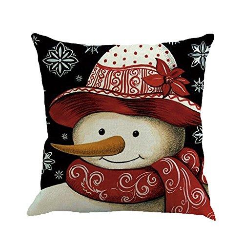 Auied Funda de cojín con diseño navideño de impresión Sonriente para sofá...