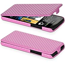 DONZO Flip Carbon-Style Funda para HTC Desire 601 rosa