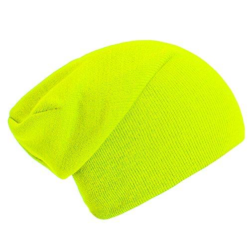 Wintermütze Mütze klassische Slouch Beanie one Size - Neongelb