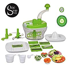 One Stop Shop Manual Food Processor - Chopper, Blender, Atta Maker, Dough Kneader,14 Pieces (Multicolor)
