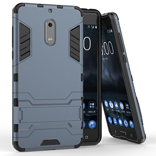 Pour Nokia Lumia 6 Case 2 En 1 double couche TPU / PC Defender Hybrid Armor Shock-Absorption Bumper & Anti-Scratch Back Cover With Stand antichoc ( Color : Red ) Black-blue