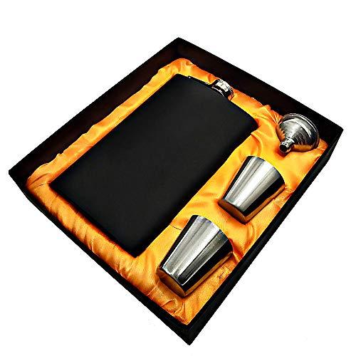 XIAONAN Edelstahl Flachmann schwarz Matt Set, 304 Edler Geschenk Flachmann 10oz 285 ml Inklusive 2 Becher (30 ml) und 1 Trichter, für Schnaps Whiskey Vodka Wein (Upgrade Version)