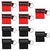 Homealexa Beatmungsmaske, CPR Maske Schlüsselanhänger 10 Stücke RESPI-Key mit Rückschlagventil Atmen Barriere - 5 Schwarz + 5 Rot