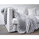 Nicole Knupfer Chunky gestrickte Decke, Sofa Decke Handgewebt Sperrig Decke Zuhause Dekor Geschenk (Hellgrau, 120 x 150 cm)