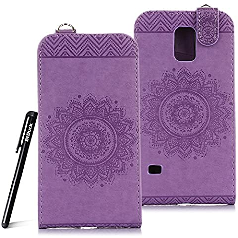 Case for Samsung Galaxy S5 wallet Embossed Flowers case,Samsung Galaxy i9600 Ceramic pattern flip cover,BtDuck protective case Light purple shell Retro Buddhism Solid color special lotus skin Case for Open vertically Holster Full-body protection machine Totem Anti-scratch Shock Resistant Strong magnetic buckle Magnet Closure [with Lanyard Strap / Rope] Credit Card/Cash Holder Slot - Romantic Light purple angel's