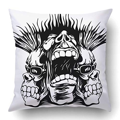 Yuerb kissenbezüge Black Tattoo Grunge Design with Punk Musician Rock Skull Metal Hard Revolution Halloween Trash Polyester 18 X 18 Inch Square Hidden Zipper Decorative Pillowcase