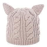 SIGGI warme beige gestrickte Beanie Mütze Katze Ohr Mütze Strickmütze Für Mädchen Wintermütze