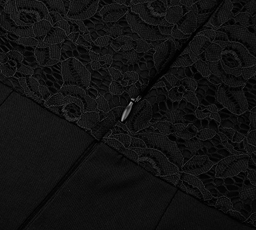 Angerella Femmes Vintage Dentelle Manches 3/4 Col V Profond Taille étroite Robe De Soiree élégant Noir