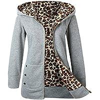 JiaMeng Escudo de Terciopelo Grueso con Capucha suéter Leopardo Cremallera Cremallera Blusa Tops Sueter