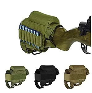 Rifle Buttstock, Hunting Shooting Tactical Cheek Rest Pad Ammo Pouch with 7 Shells Holder (Esercito)