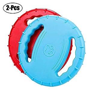 Bibetter Squeak Dog Flying Disques, en Caoutchouc Souple Flottant, Catcher, Chien Jouer Jouet Frisbee pour entraînement ou Chewing-2pcs (Bleu + Rouge)