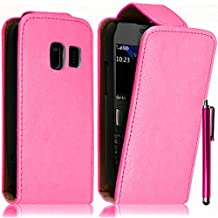 VCOMP® Housse Coque Etui rabattable en simili cuir pour Nokia Asha 302 + stylet - ROSE