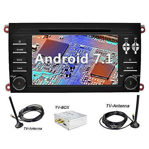 YINUO 7 Zoll 2 Din Android 7.1.1 Nougat 2GB RAM Quad Core Autoradio Moniceiver DVD GPS Navigation 1080P OEM Stecker Canbus Orange Tastenbeleuchtung für PORSCHE cayenne 2003-2010 Unterstützt DAB+ Bluetooth OBD2 Wlan (Autoradio mit DVB-T TV Box)