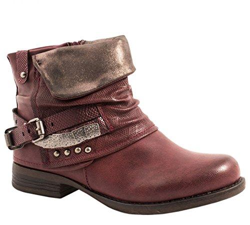 Elara Mujer Biker Boots | Metallic Prints Hebillas | Aspecto de Piel Remaches Botines | Forrado, Color Rojo, Talla 36 EU