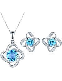 JiangXin natural Topacio azul suizo joyas 925 pendientes de plata & 45cm colgante, collar para las mujeres de noviembre birthstone joyas finas