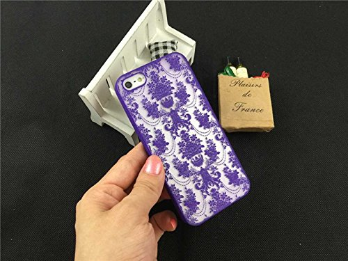 Coque iPhone 6 Plus/6s Plus , iNenk® rétro Palace fleur Matte dur PC Shell protection manches Fashion cas marée couvrir pour femmes-bleu 2violet