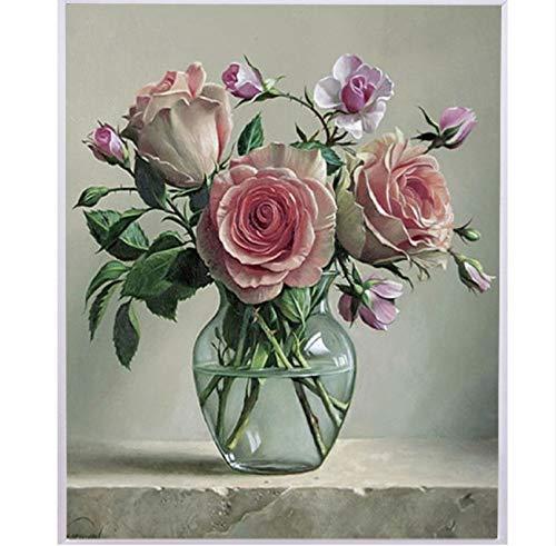 MYLOOO Vase 5D DIY Diamant Malerei Blume Anordnung Rose Muster Kreuzstich Diamant Stickerei Diamant Mosaik Wandaufkleber 45X50Cm -