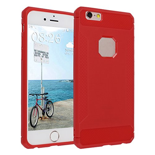 iPhone 6S Plus Hülle, Asnlove Ultra Slim TPU Silikon Backcover Bumper Case Handy Schutzhülle Rutschfest für iPhone 6 Plus / iPhone 6S Plus 5.5 Zoll - Rot Style-4
