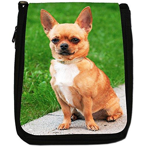 Chihuahua messicano taco Bell cane medio nero borsa in tela, taglia M Diamond Collar Dog In Park