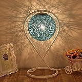 LILY Einfache moderne kreative Rattan Tischlampe - Schlafzimmer Nachttisch Mode Romantische Kunst Wohnzimmer Dekoration Geschenk Tischlampe E27 * 1 (Color : Blue)