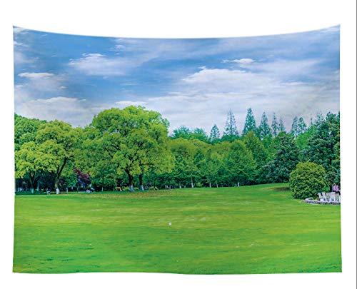 rie Wandbehang Grünes Gras Und Holz Verzierten Hintergrundstoff Vorhänge Schlafzimmer Wanddekoration Gewebe,150X229 cm ()