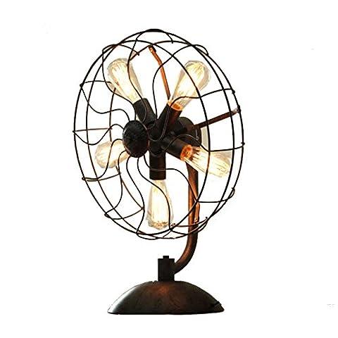 Health UK Table lamp- Steampunk Vintage Iron Fan en forme de tuyau d'eau lampe de table American Retro Coffee Shop Loft Industry Bar décoration Antique noir E27 Desk Light Welcome