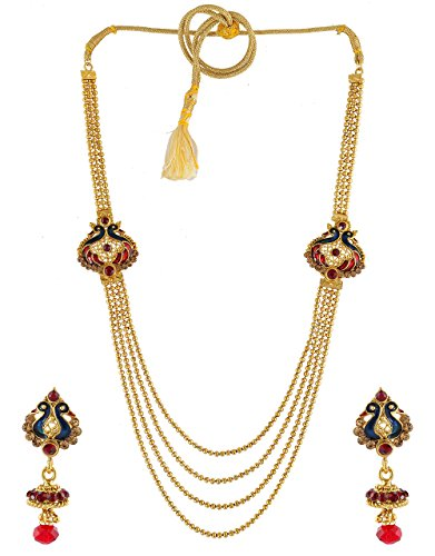 Anuradha Art Golden Colour Styled With Pink-Blue Colour Designer Classy Traditional Long Necklace Set For Women/Girls  available at amazon for Rs.600