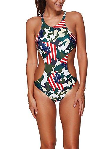 BOZEVON Donna Costume Interi Costumi Da Bagno Taglie Forti Monokini Un Pezzo Swimsuit Bikini multicolore-Stile B