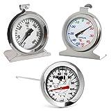 Lantelme 3 tlg. Küchenthermometer Set mit Backofenthermometer , Kühlschrankthermometer und Einstichthermometer . Edelstahl , Bimetall und Analog 4129
