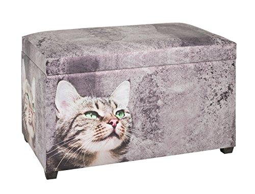 Sitztruhe mit Katzen Motiv aus Kunstleder und MDF; Maße (B/T/H) in cm: 65 x 40 x 42