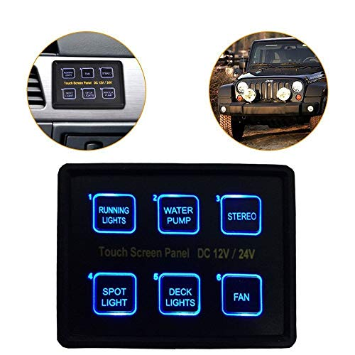 AliExpress EBAY Auto Teile Schalter Touch Switch Panel 6 Position Switch Panel (Color : Black) (Ebay-auto-teile)
