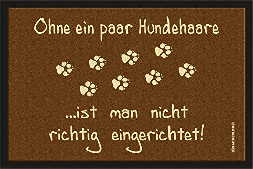 fussmatte originell RAHMENLOS Fußmatte Türmatte Schmutzfangmatte mit Motiv: ohne Hundehaare ist Man Nicht richtig eingerichtet 203