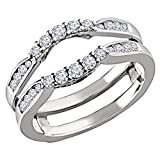 Solitario in argento Sterling placcato in oro bianco 14 K Enhancer reale .50 C simulato Diamond Ring Guard Wrap wedding Band